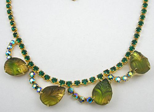 Necklaces - Green-Gold Molded Glass Necklace