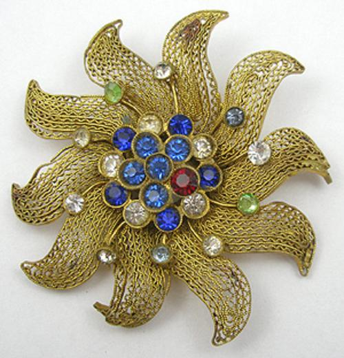 Brooches - Czech Filigree Flower Brooch