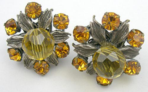 Earrings - Miriam Haskell Topaz Rhinestone Earrings