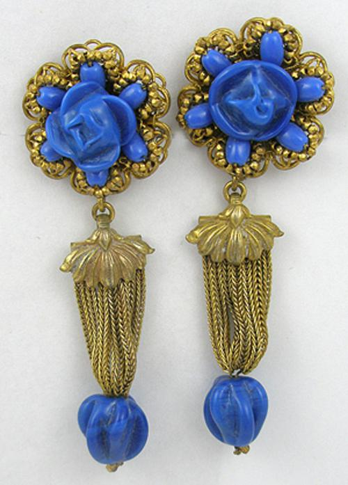 Newly Added Miriam Haskell Blue Glass Earrings