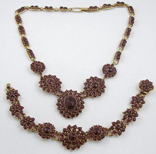Garnet Jewelry - Victorian Revival Garnet Glass Demi-Parure
