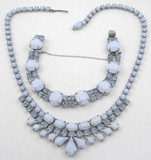 Weiss - Weiss Blue Milk Glass Necklace & Bracelet Set