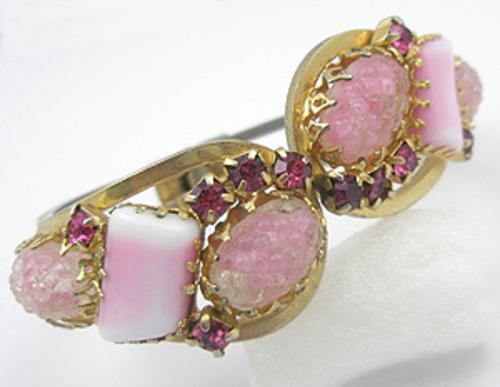 Newly Added Pink Art Glass Hinged Bracelet