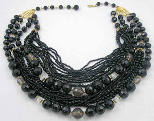 Necklaces - Black Beads 21-Strand Torsade Necklace