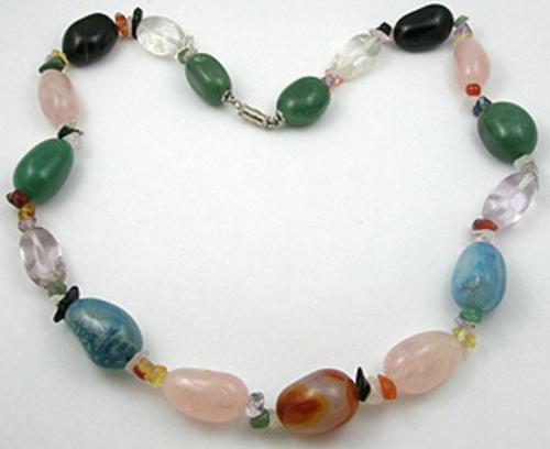 Ethnic & Boho - Agate and Quartz Bead Necklace