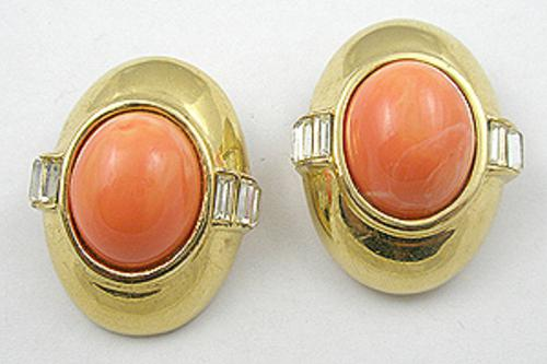Earrings - Ciner Orange Art Glass Earrings