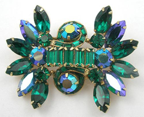 Newly Added Hollycraft Green Rhinestone Brooch