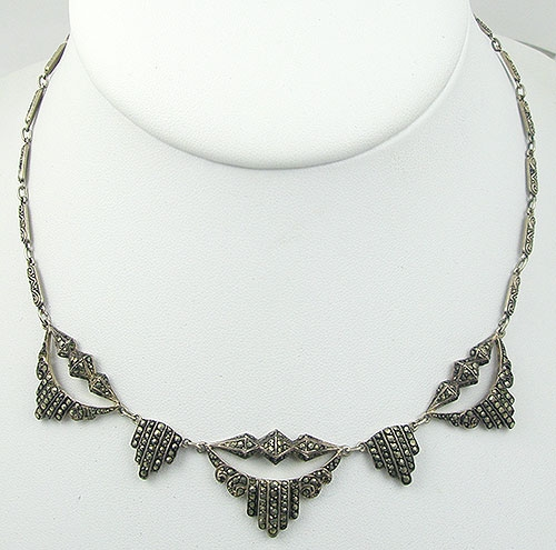 Necklaces - German Art Deco Sterling Marcasite Necklace