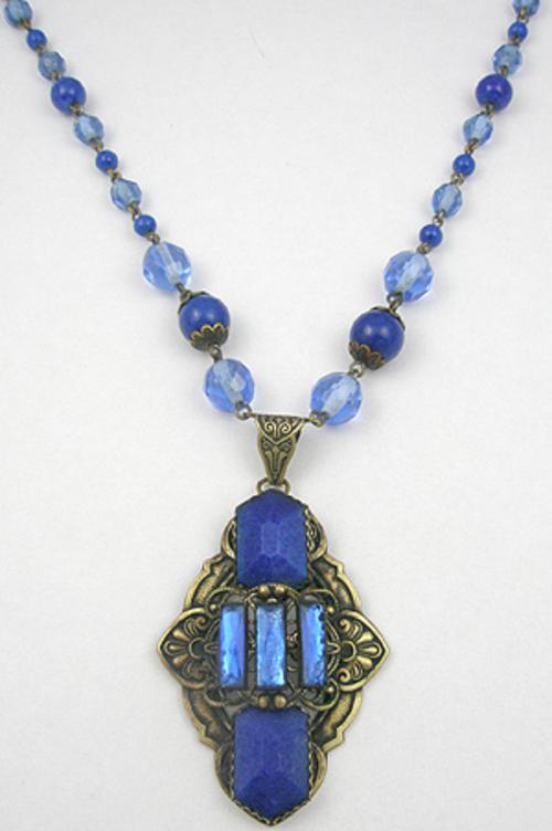 Necklaces - Czech Glass Lapis Necklace