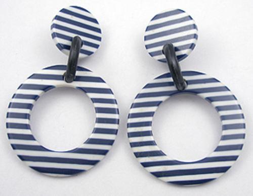 Earrings - Navy Striped Plastic Hoop Earrings
