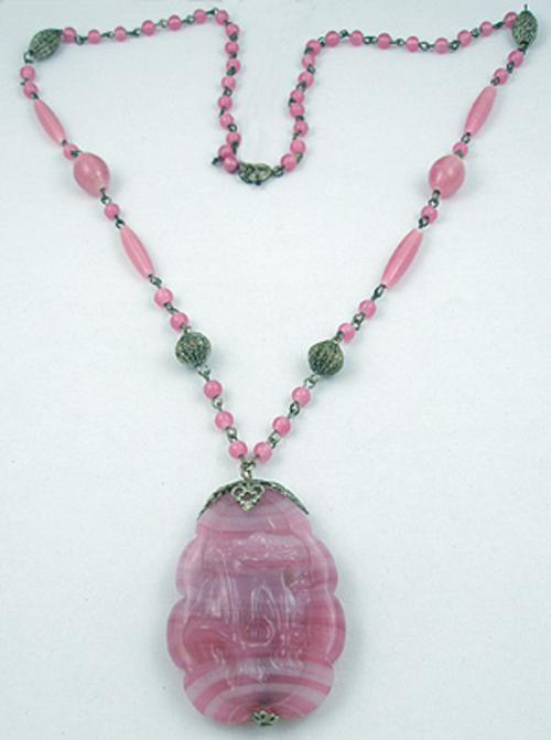 Necklaces - Czech Pink Molded Glass Necklace