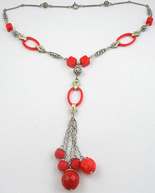 Necklaces - Art Deco Red Glass Bead Necklace