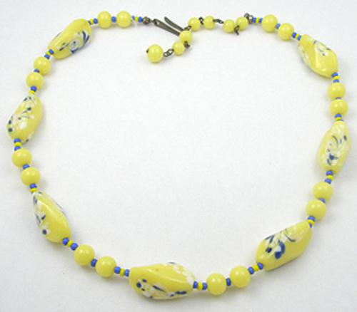 Necklaces - Yellow Glass Beads Necklace