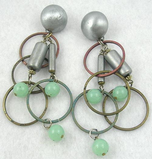 Ethnic & Boho - Mixed Metal Rings Dangle Earrings