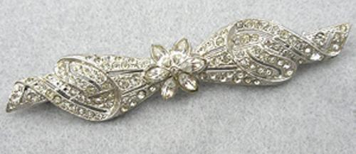 Brooches - Rhinestone Bow Bar Pin