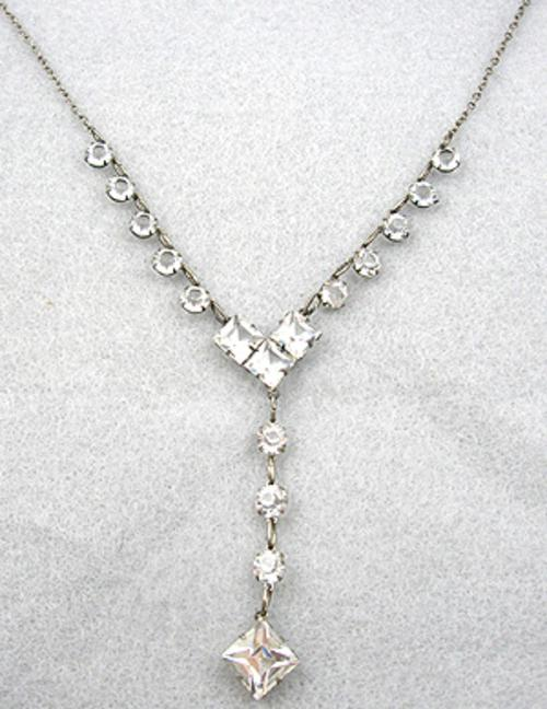 Necklaces - Art Deco Sterling Glass Necklace