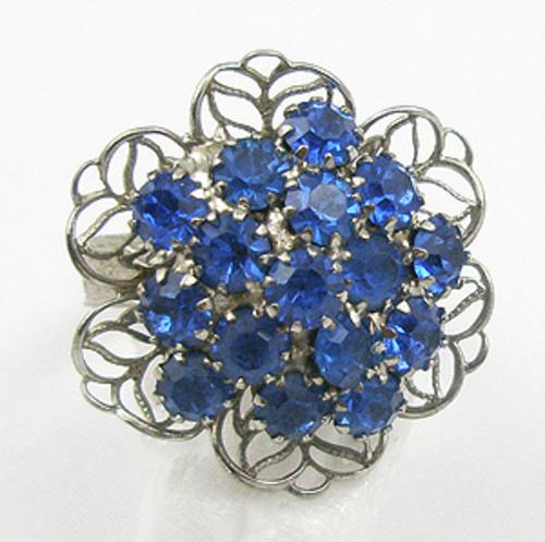 Pantone Color of the Year 2020 - Blue Rhinestone Filigree Ring