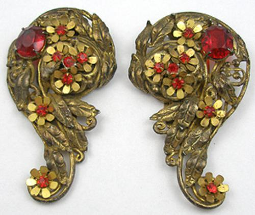 Newly Added Brass Paisley Dress Clips Pair