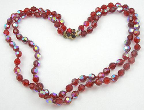 Crystal Bead Jewelry - Red Crystal Bead Necklace
