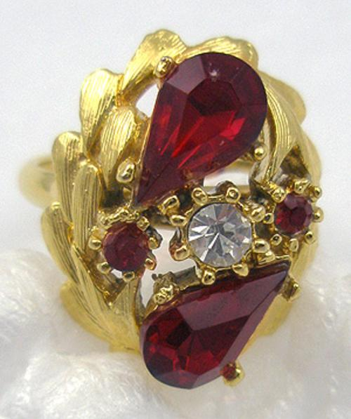Rings - Ruby Rhinestone Cocktail Ring