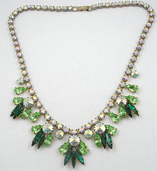 Necklaces - Green Rhinestone & Aurora Rivoli Necklace