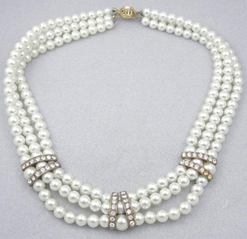 Necklaces - Triple Strand Faux Pearl Necklace