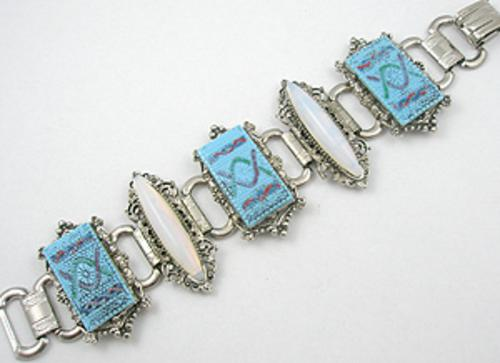 Newly Added Turquoise Molded Glass Tile Bracelet