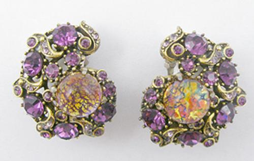 Earrings - Hollycraft Cat's Eye Amethyst Rhinestone Earrings