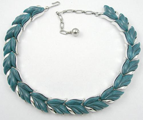 Kramer - Kramer Teal Plastic Leaves Necklace