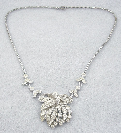 Necklaces - Coro 1930's Rhinestone Bow Necklace