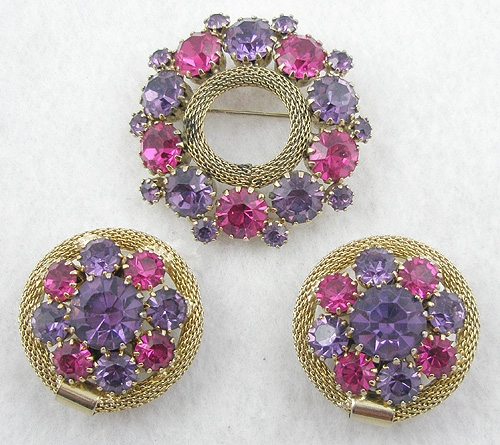 Weiss - Weiss Purple & Fuchsia Circle Brooch Set