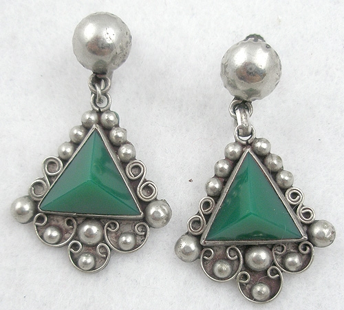 Mexico - Mexican Green Onyx Earrings