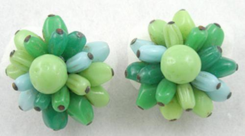 Florals - Japan Green Glass Bead Earrings
