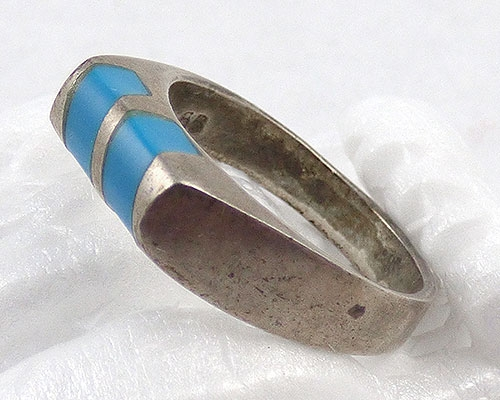 Rings - Taxco Sterling Inlaid Turquoise Ring