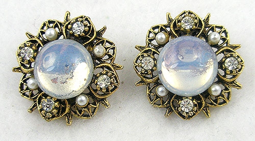 Earrings - Signed Art Glass Moonstone Earrings