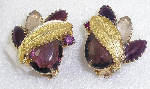 Earrings - Amethyst Rhinestone Gold Leaf Earrings