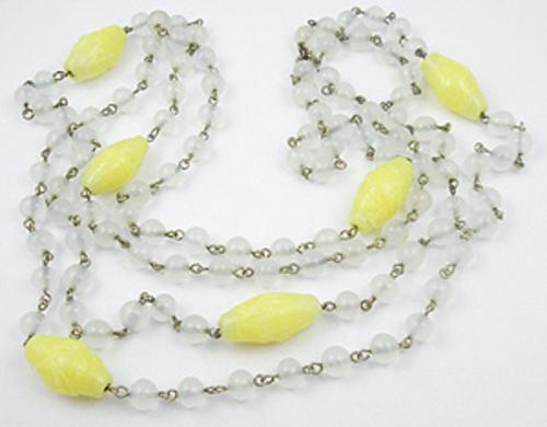 Art Deco - Yellow & Clear Glass Bead Flapper Necklace