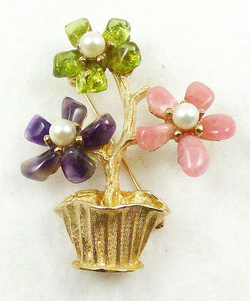 Florals - Swoboda Gemstone Flower Basket Brooch