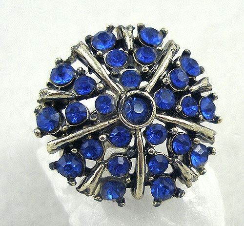 Pantone Color of the Year 2020 - Vintage Blue Rhinestone Ladies Ring