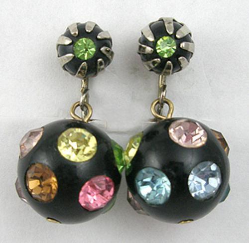 Earrings - Rhinestone Studded Black Bead Earrings