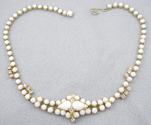 Necklaces - White Milk Glass Necklace