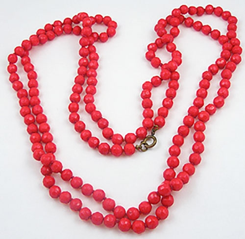 Necklaces - Red Glass Flapper Beads Necklace