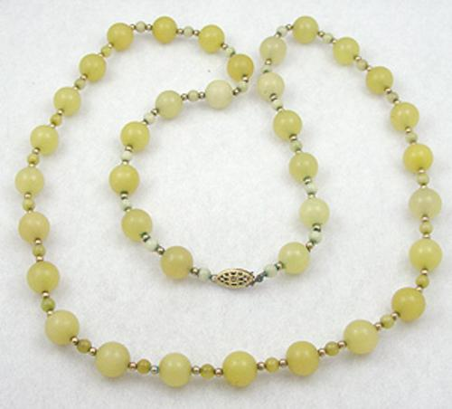 Necklaces - Yellow Peking Glass Bead Necklace