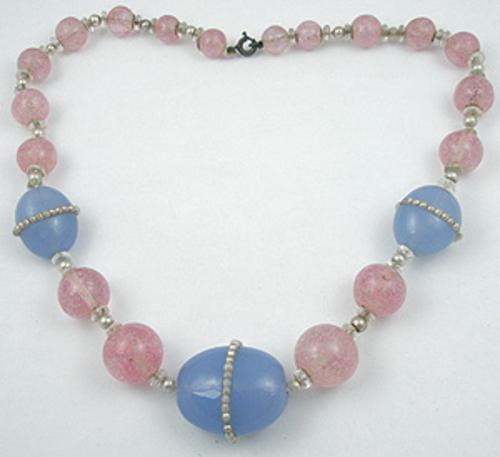 Necklaces - Pink & Blue Art Glass Bead Necklace