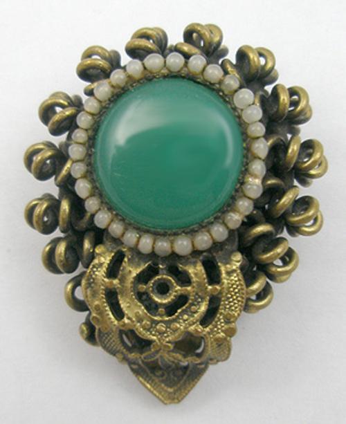 Dress & Fur Clips - Peking Glass Brass Spirals Dress Clip