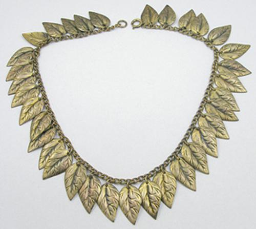 Necklaces - Vintage Brass Leaves Necklace