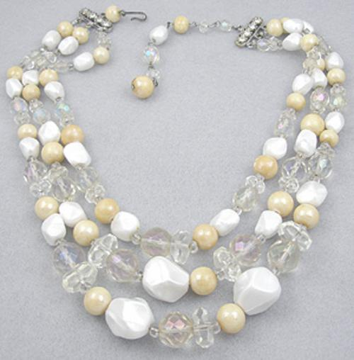 Necklaces - Crystal and White Bead Necklace