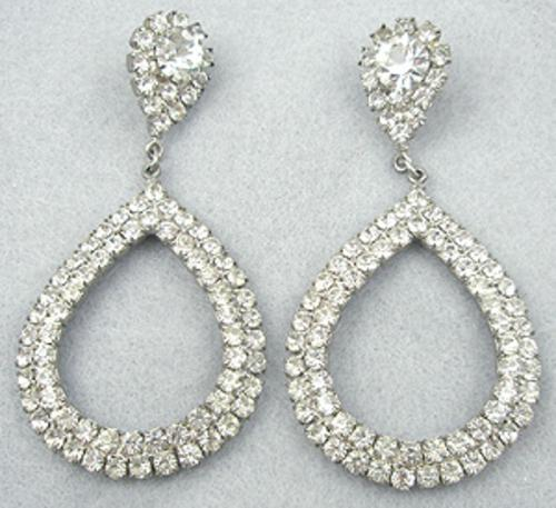 Bridal, Wedding, Special Occasion - Rhinestone Teardrop Hoop Earrings
