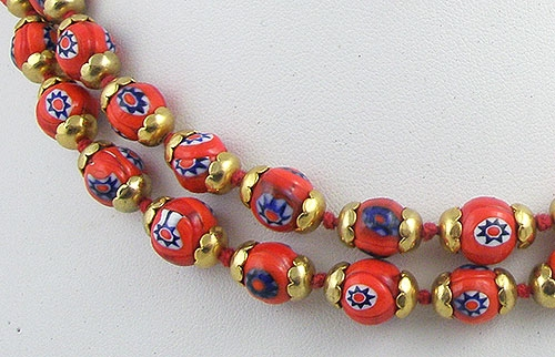 Red Glass Bead Necklace Red Millefiori or Flower Bead Necklace Millefiori Necklace