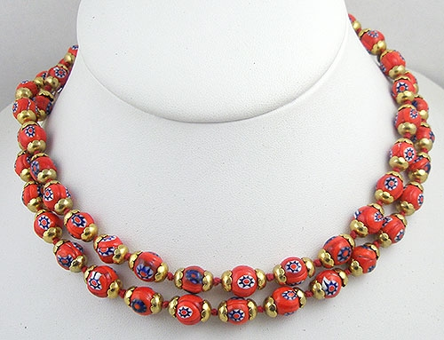 Italy - Vintage Venetian Red Millefiori Glass Bead Necklace